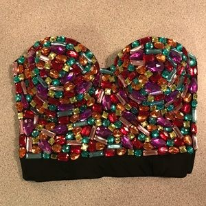 Tops - Multicolored Rhinestone Jeweled Bustier Corset
